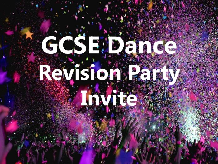 GCSE Dance Revision Party Invite