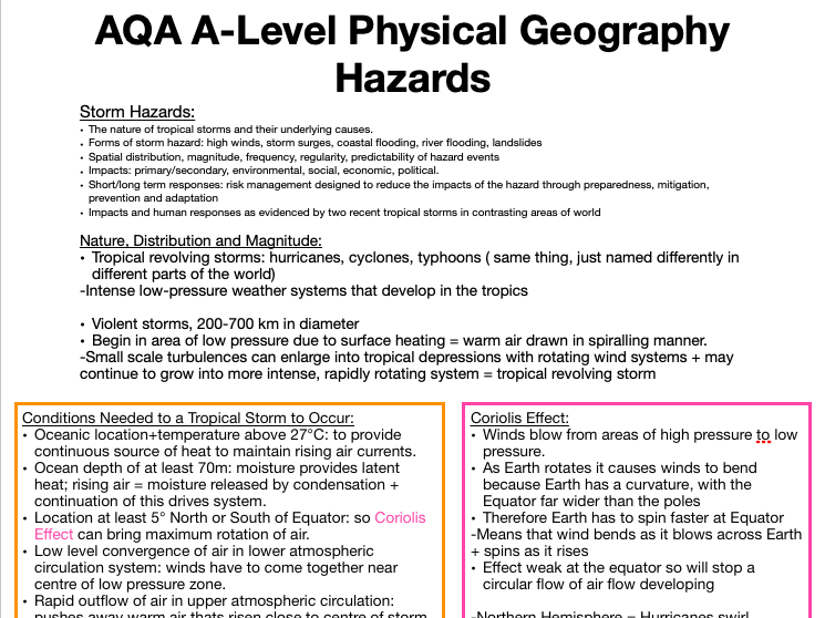 AQA A Level Geography: Hazards - Storm Hazards