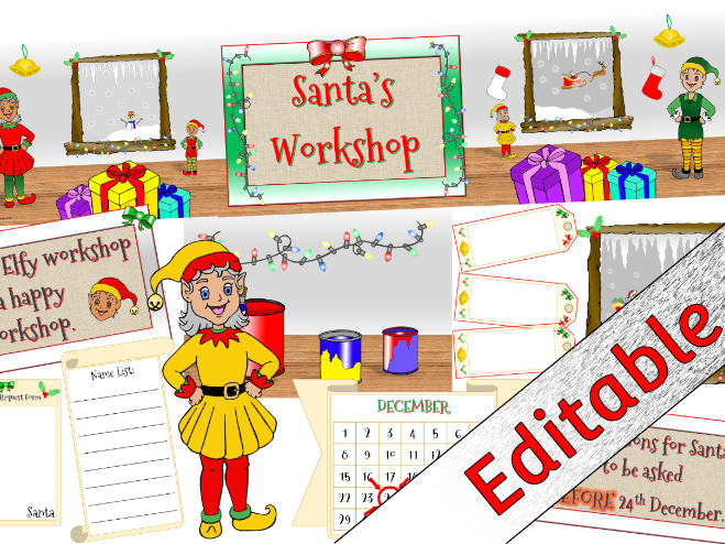 'Santa's Workshop' Role-Play Area Pack - Editable