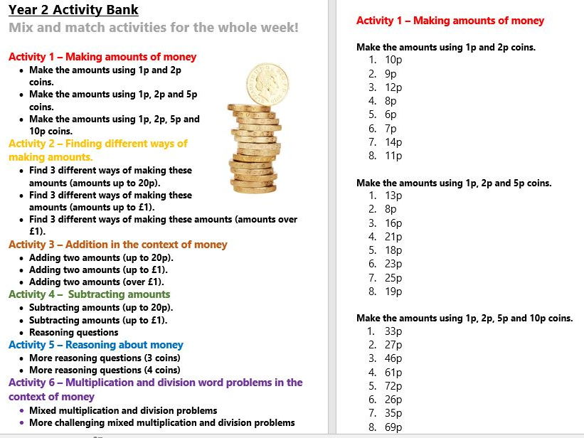 Money Year 2 Activity Bank (Differentiated)