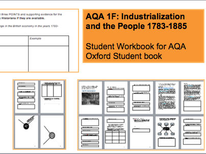 AQA 1F Industrialisation and the People Student Workbook: A-Level History 25 pages 56 Tasks Flipped