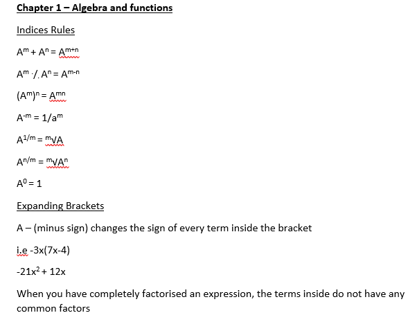 A-Level Maths - C1 Equations bank