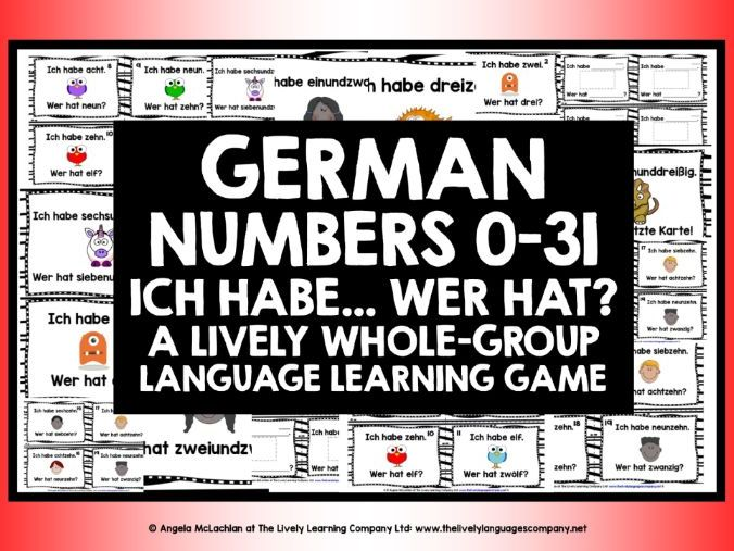 GERMAN NUMBERS 0-31 I HAVE, WHO HAS?