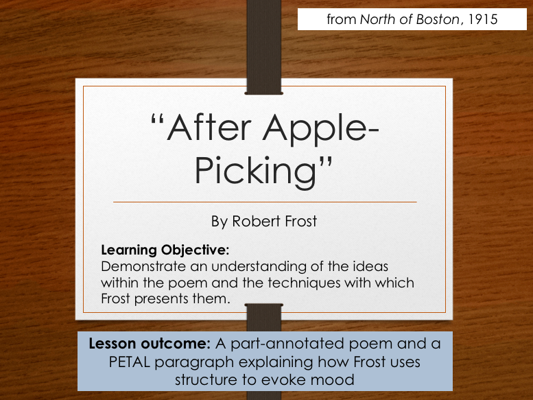 Robert Frost After Apple Picking By Tove7 Teaching Resources Tes