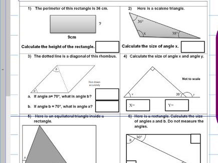 Properties of rectangles and triangles - Missing angles - Facts ks2 year 5 6 - SATS - WORKSHEET ONLY