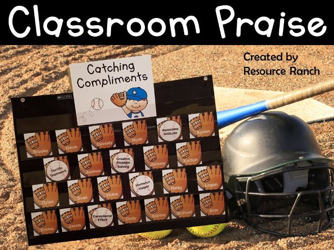 """Catching Compliments"" Baseball Themed Student Praise Resource"