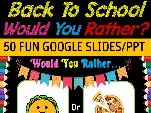 Would You Rather NO PREP Back to School Fun Digital Game - 50 Google slides/PPT