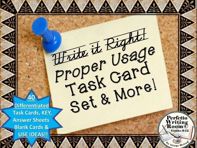 Proper Usage! Task Card Set and MORE - Grades 6, 7, 8, 9, 10, 11, 12