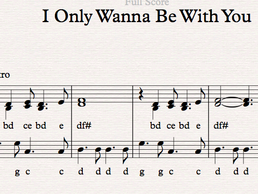 Easy Sibelius arrangement of I Only Wanna Be With You by Dusty Springfield