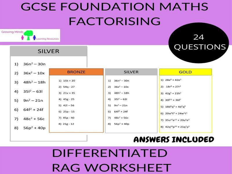 Factorising-Differentiated RAG Worksheet