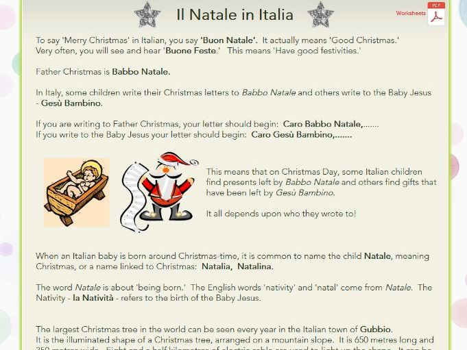 Christmas in Italy: web pages + worksheets