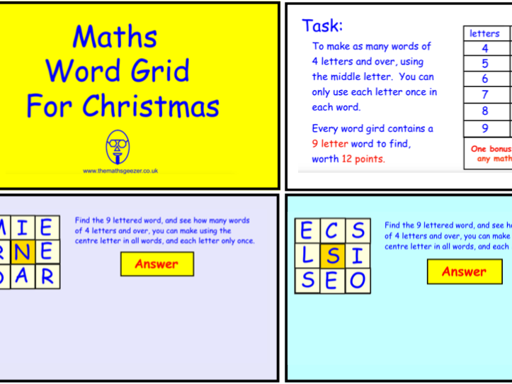 Maths Word Grid For Christmas (pdf version)