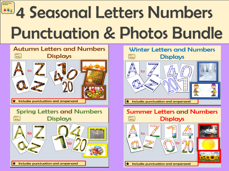 Autumn Winter Spring and Summer Alphabet Lettering, Numbers, Punctuation Symbols, Maths Signs  and Seasonal Photographs Displays for Classrooms/Walls Bundle