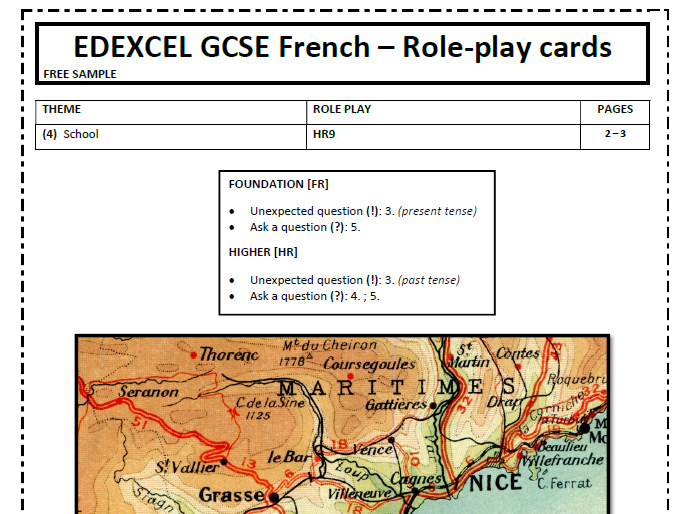 FREE SAMPLE EDEXCEL GCSE French Speaking - Full Role Play pack with teacher cards & sample answers