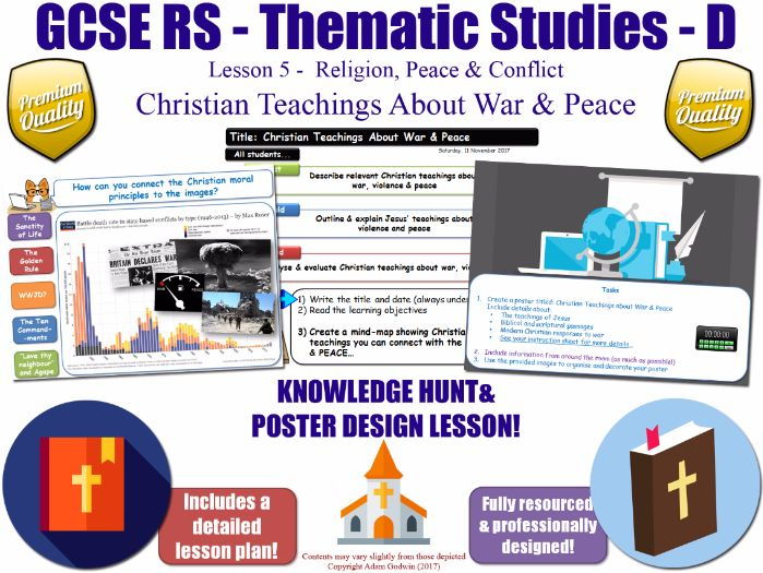 Christian Teachings About War & Peace  [GCSE RS - Religion, Peace & Conflict - L5/10] Theme D