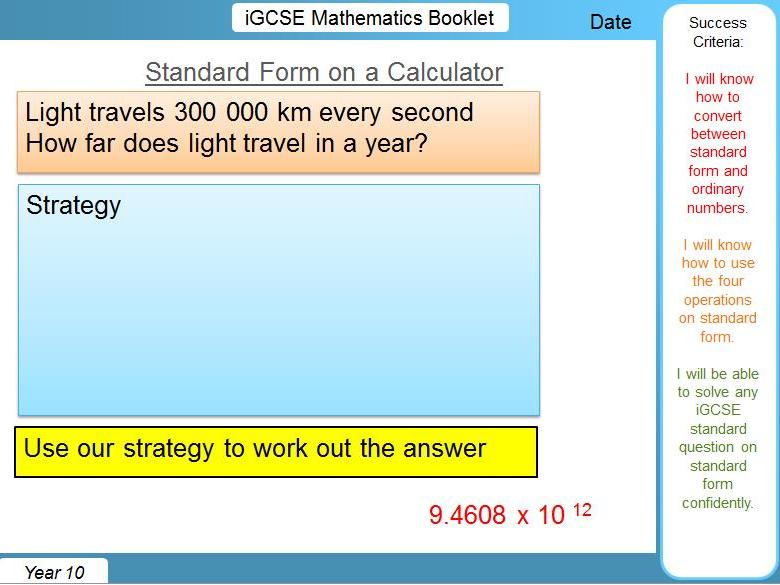iGCSE Booklet - Standard Form