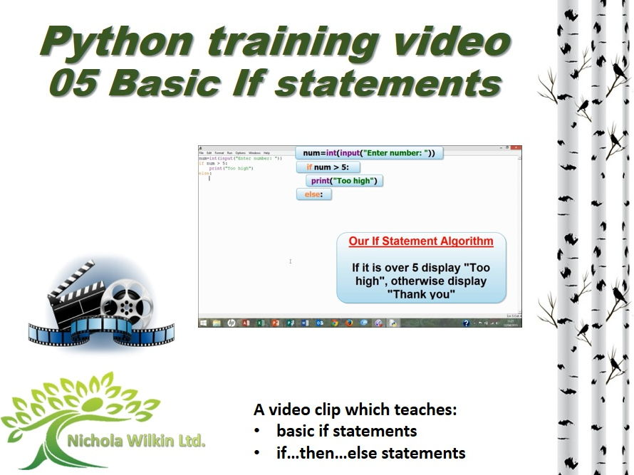 Python training video – 05 Basic If statements