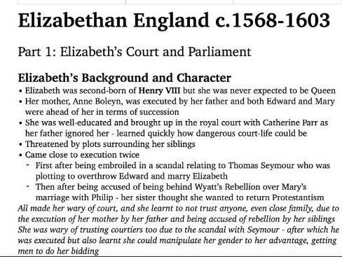 AQA Elizabethan England