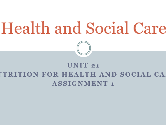 nutrition for health and social care essay
