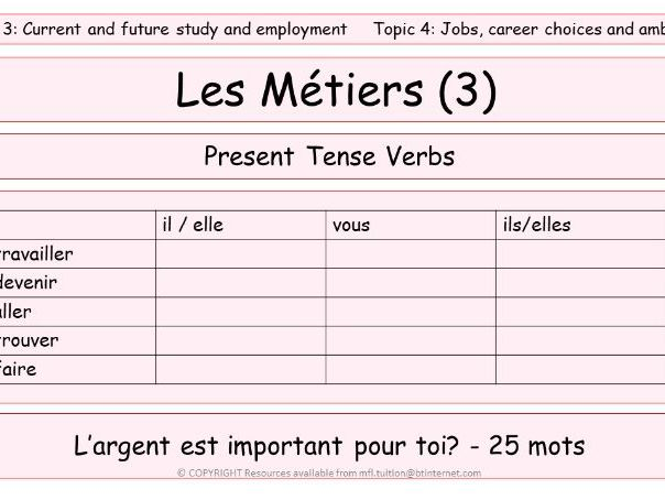 GCSE Vocabulary and Sentence Level Tasks THEME 3 TOPICS 1 - 4