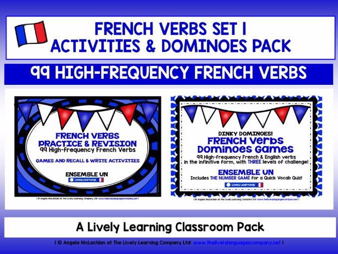 FRENCH VERBS (1) - ACTIVITIES & DOMINOES - 99 VERBS