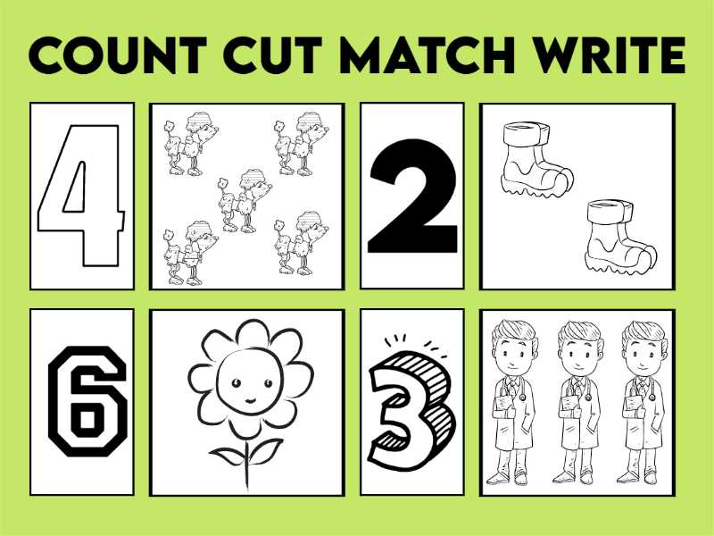 4 Count, Cut and Match Colouring Sheets