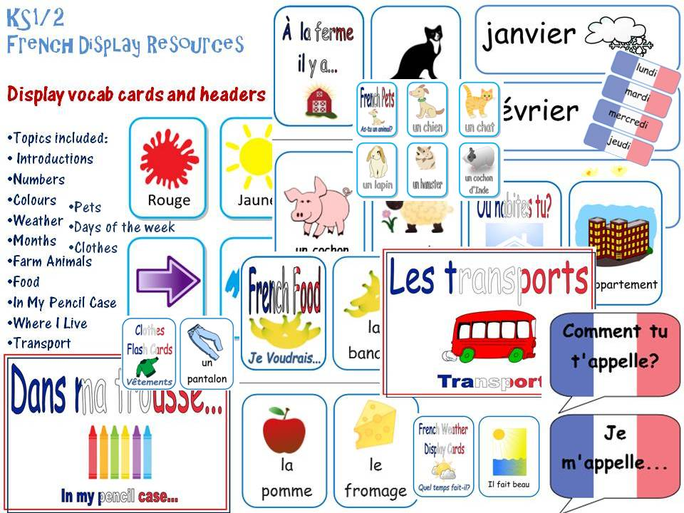 French Classroom Display Resources Bundle-15 Basic topics: Introductions, numbers, months, food etc