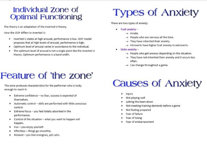 Anxiety Booklet AS PE Psychology for OCR