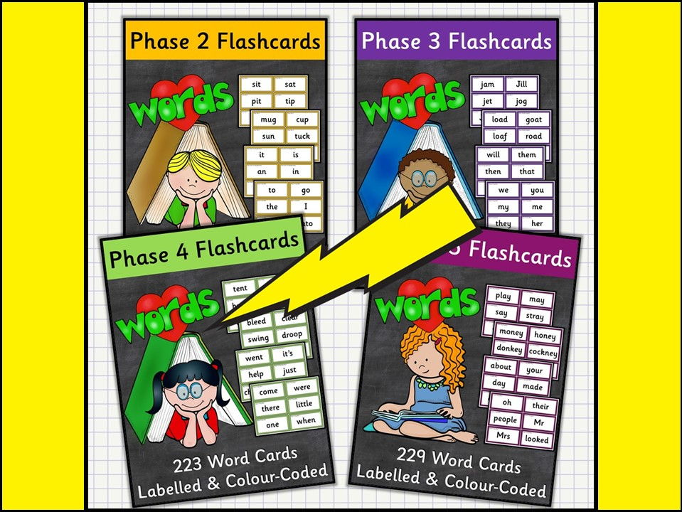 Phonics: Word Flashcards in Phases Mega Bundle