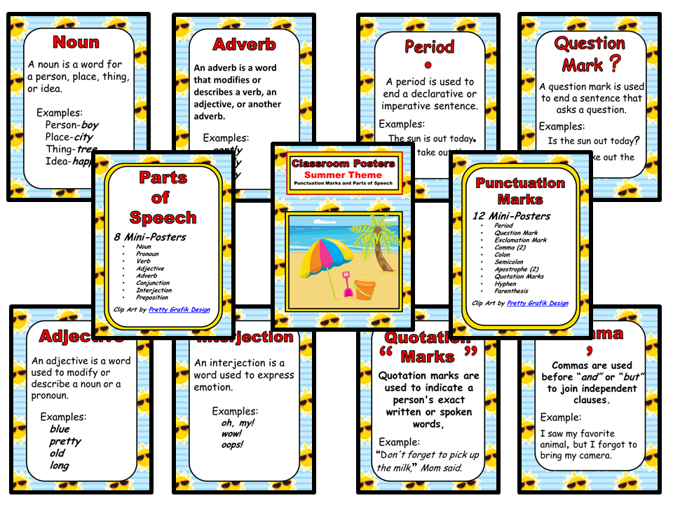 Classroom Mini-Posters - Summer Theme