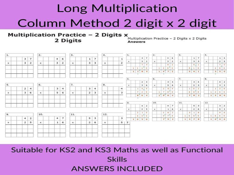 Long Multiplication -Column Method Worksheet