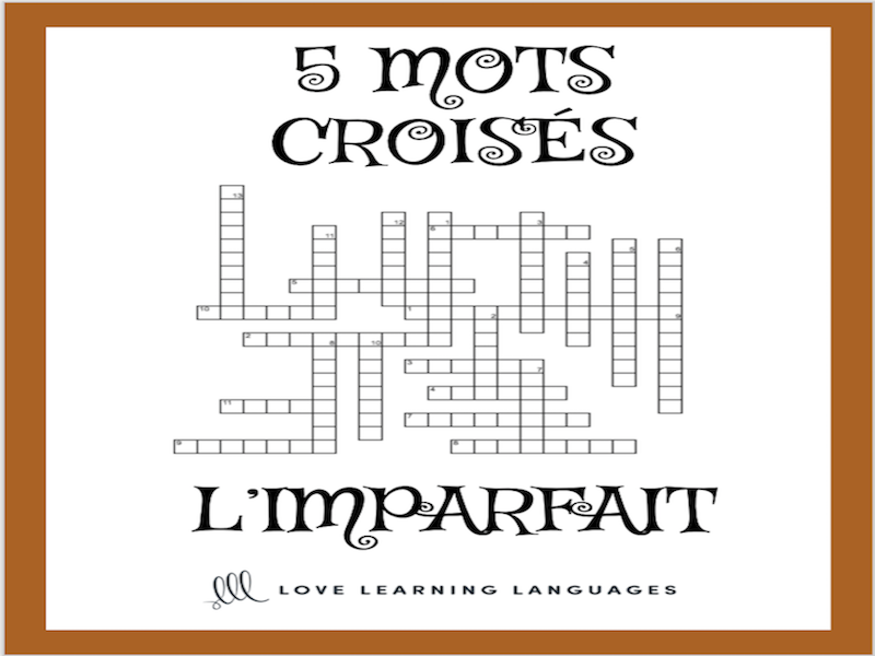 French imperfect tense crossword puzzles - mots croisés l'imparfait
