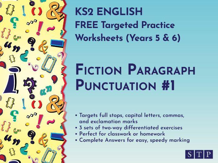 Fiction Punctuation Worksheets Paragraph KS2
