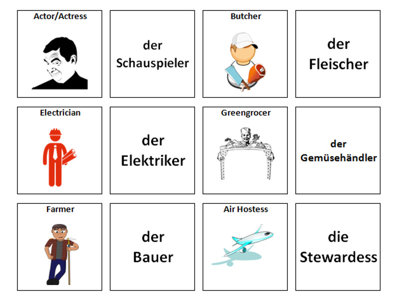 Jobs: German Vocabulary Card Sort