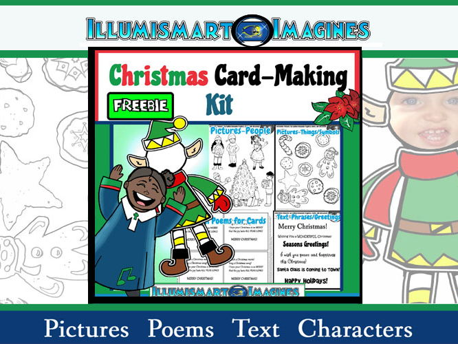 FREEBIE Christmas Card-Making Kit! FREE Poems, Pictures, Text, & Characters!