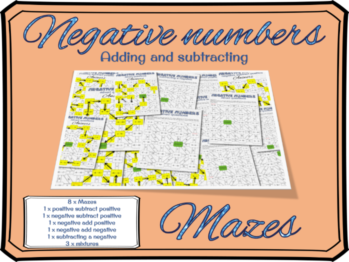 Negative numbers: Adding and subtracting negative numbers mazes