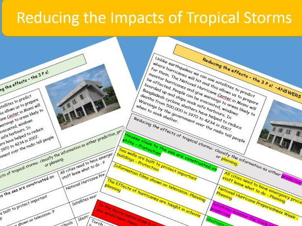 AQA 9-1 GCSE: Reducing the Impacts of Tropical Storms / Hurricanes.