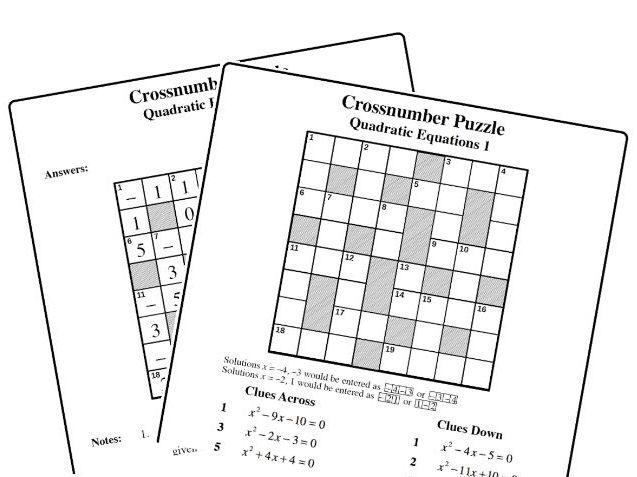 Crossnumber Puzzle: Quadratic Equations 1