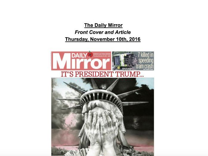 "The Daily Mirror Analysis - ""America's Brexit"""
