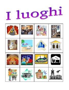 Luoghi (Places in Italian) Bingo game