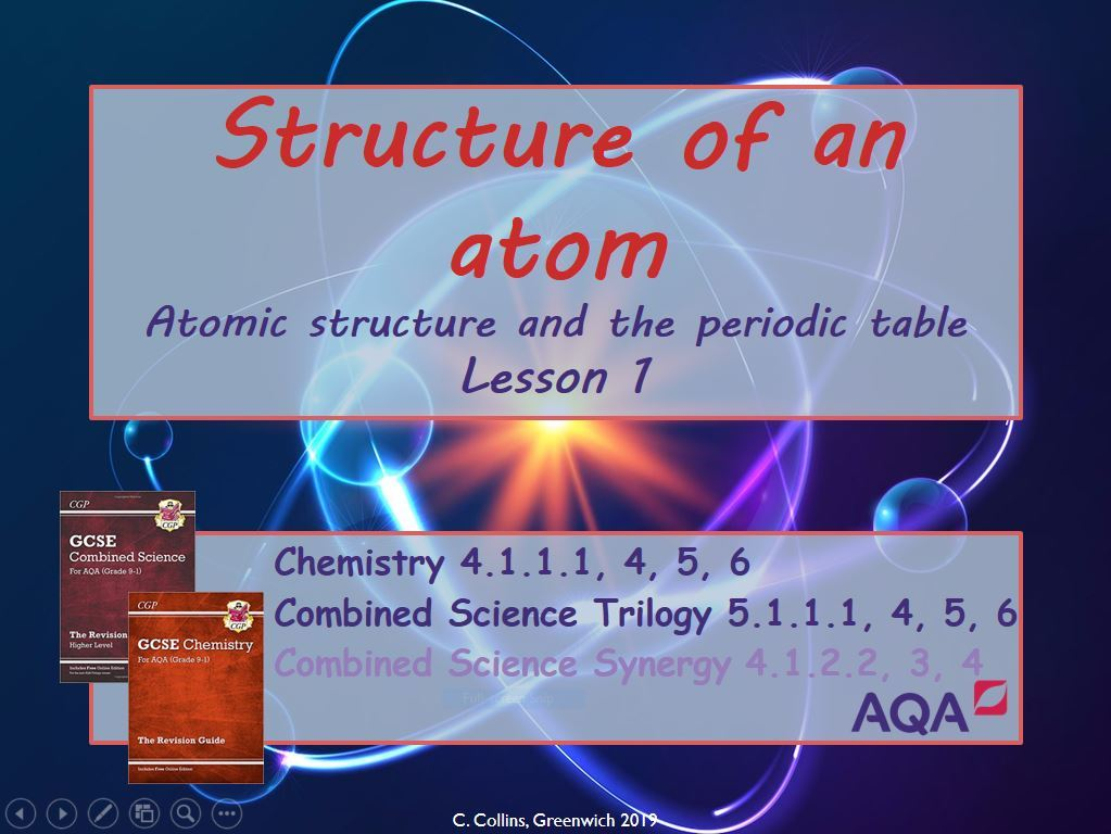 AQA Atomic Structure Unit of Work (Chemistry paper 1)