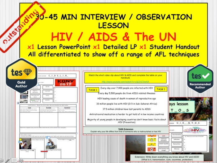 HIV & AIDS and the UN: (Interview or Observation Lesson Resources) PSHE Citizenship.
