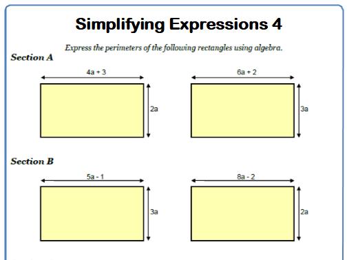 Simplifying Expressions Maths Worksheet 4