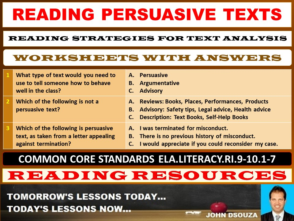 READING PERSUASIVE TEXTS WORKSHEETS WITH ANSWERS