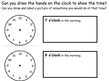 O'clock - Drawing Hands on Clocks and Writing the Time - 2 Worksheets