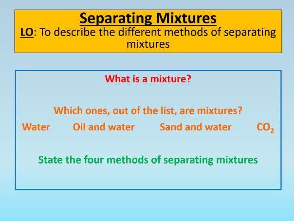 GCSE AQA Chemistry C1 Separating Mixtures PowerPoint