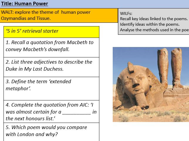 Ozymandias and Tissue Poetry Lesson Grade 4 and Grade 5-6