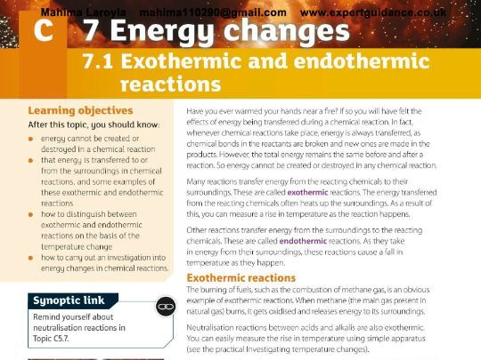 AQA GCSE Chemistry 2nd Edition 7 Energy Changes  Revision Videos,Notes