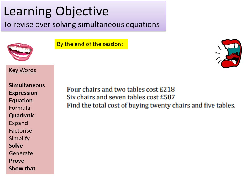 GCSE 1-9 Higher Simultaneous Equations Revision
