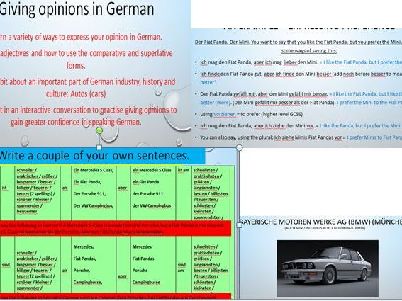 Giving your opinion about cars in German